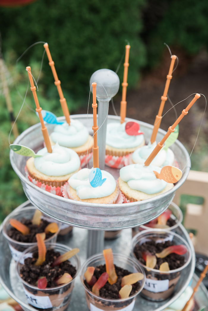 Fishing cupcakes from a Gone Fishing Birthday Party on Kara's Party Ideas | KarasPartyIdeas.com (17)