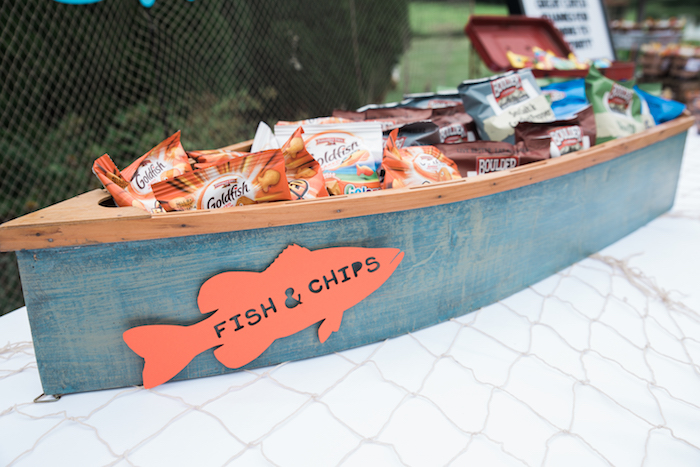 Fish & Chips Boat from a Gone Fishing Birthday Party on Kara's Party Ideas | KarasPartyIdeas.com (22)
