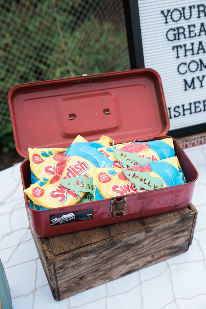 Tackle box of Swedish Fish favors from a Gone Fishing Birthday Party on Kara's Party Ideas | KarasPartyIdeas.com (21)