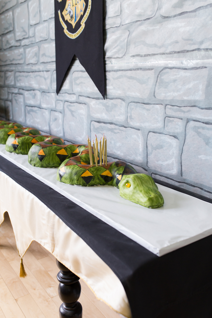 Nagini Snake Cake from a Happening Harry Potter Birthday Party on Kara's Party Ideas | KarasPartyIdeas.com (7)