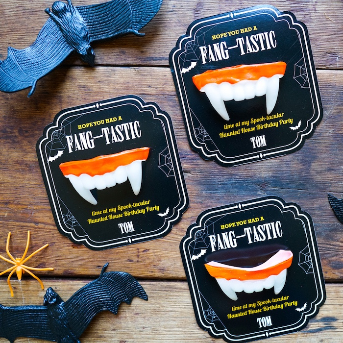 Fang-tastic favor tags from a Modern Haunted House Halloween Party on Kara's Party Ideas | KarasPartyIdeas.com (10)