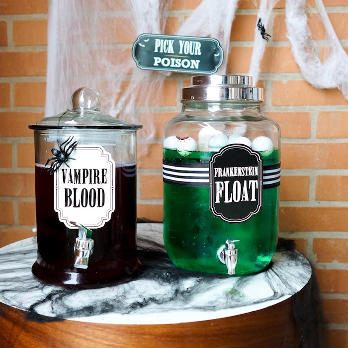 Halloween beverages from a Modern Haunted House Halloween Party on Kara's Party Ideas | KarasPartyIdeas.com (9)
