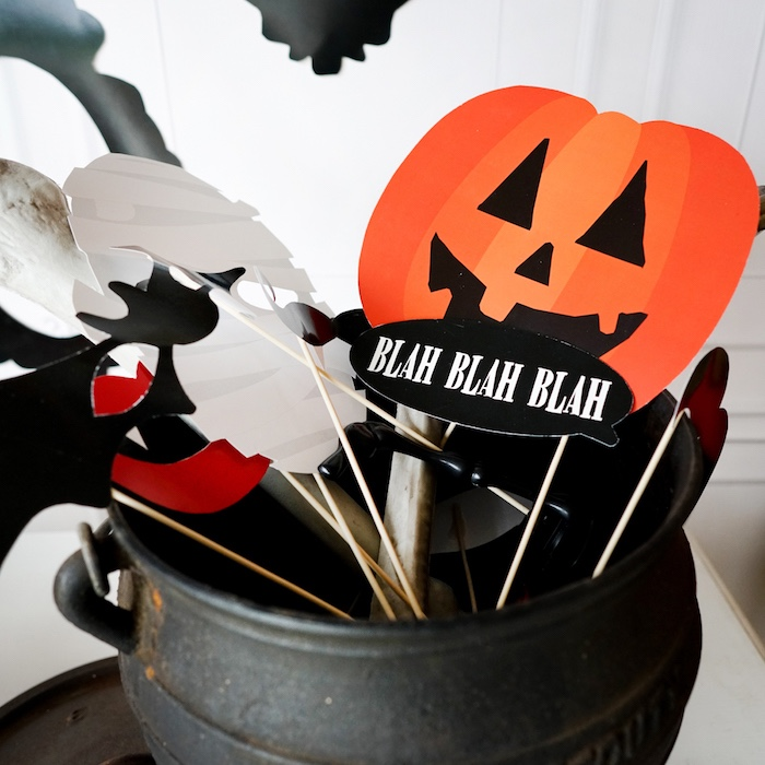 Halloween photo booth props from a Modern Haunted House Halloween Party on Kara's Party Ideas | KarasPartyIdeas.com (7)