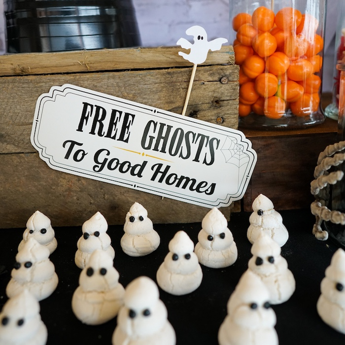 Ghost meringues from a Modern Haunted House Halloween Party on Kara's Party Ideas | KarasPartyIdeas.com (6)