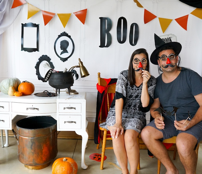 """""""BOO"""" photo booth from a Modern Haunted House Halloween Party on Kara's Party Ideas 