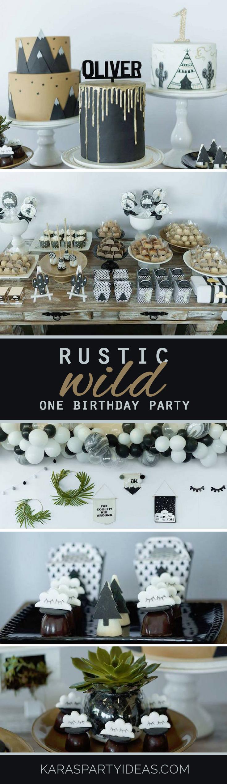 rustic wild one birthday party via Kara's Party Ideas