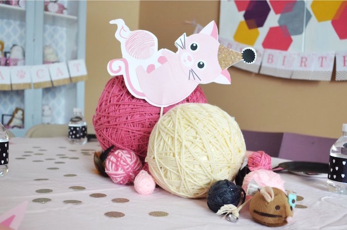 Yarn ball centerpiece from a Kitty Cat Birthday Party on Kara's Party Ideas | KarasPartyIdeas.com (19)