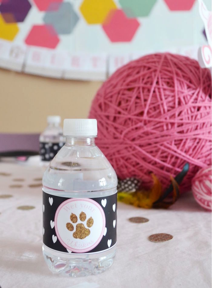 Paw printed water bottle from a Kitty Cat Birthday Party on Kara's Party Ideas | KarasPartyIdeas.com (18)