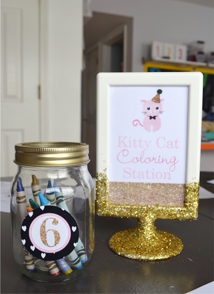 Kitty Cat Coloring Station from a Kitty Cat Birthday Party on Kara's Party Ideas | KarasPartyIdeas.com (9)