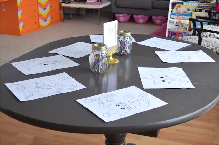 Kitty Cat Coloring Station from a Kitty Cat Birthday Party on Kara's Party Ideas | KarasPartyIdeas.com (8)