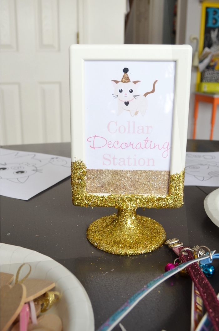 Signage + Collar Decorating Station from a Kitty Cat Birthday Party on Kara's Party Ideas | KarasPartyIdeas.com (4)