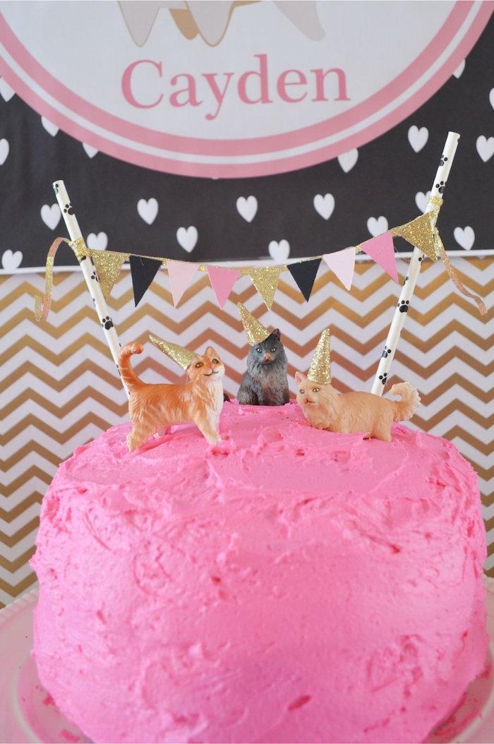 Kitty Cat Cake from a Kitty Cat Birthday Party on Kara's Party Ideas | KarasPartyIdeas.com (23)