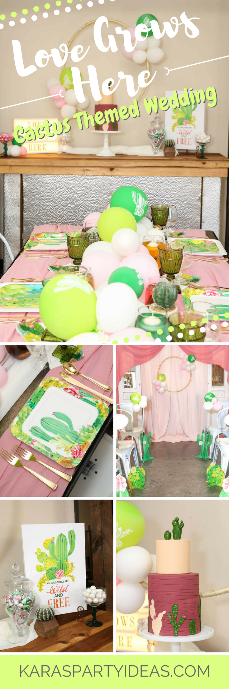 Love Grows Here Cactus Themed Wedding via Kara's Party Ideas - KarasPartyIdeas.com
