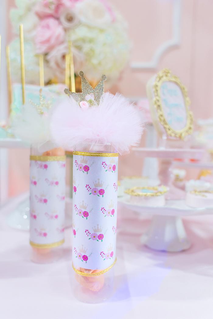 Princess favor tubes from a Magical Princess Birthday Party on Kara's Party Ideas | KarasPartyIdeas.com (15)