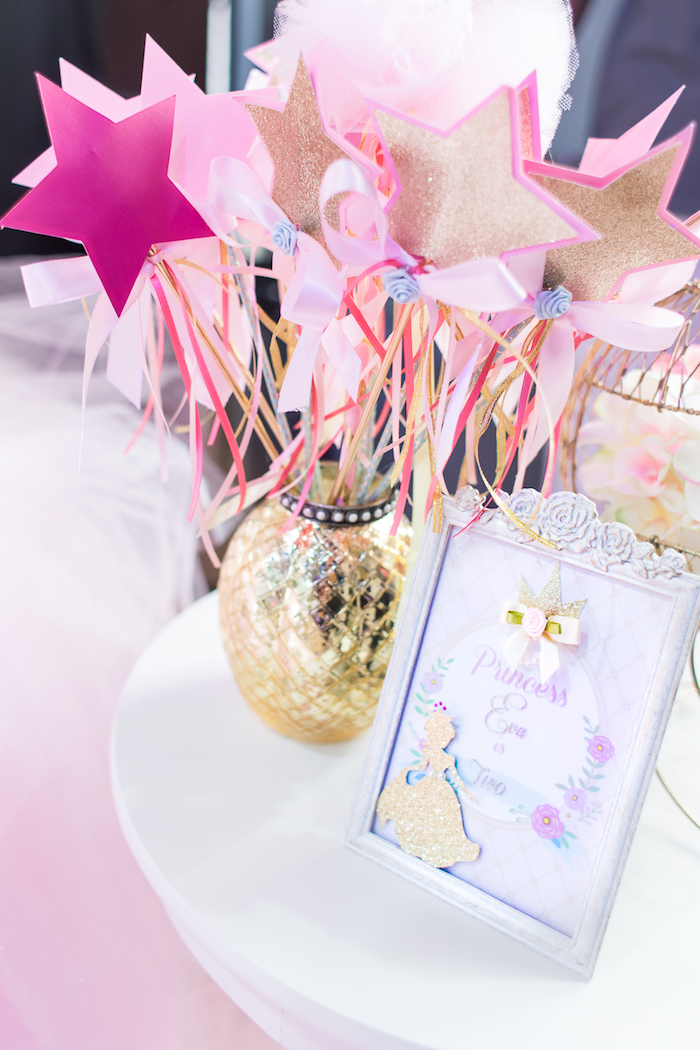 Princess wands and signage from a Magical Princess Birthday Party on Kara's Party Ideas | KarasPartyIdeas.com (14)