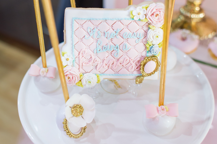 Cake pops and custom cookie from a Magical Princess Birthday Party on Kara's Party Ideas | KarasPartyIdeas.com (11)