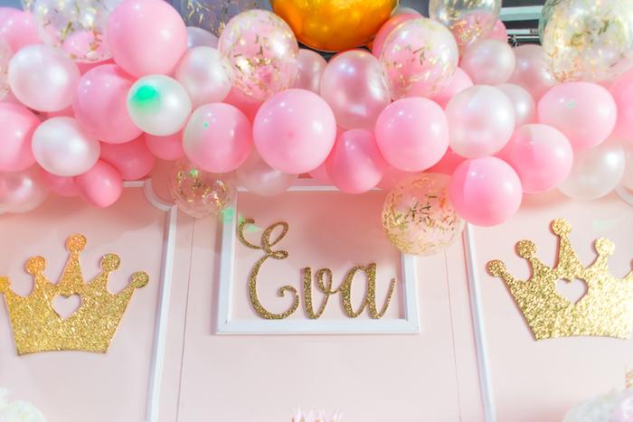 Balloon garland + backdrop from a Magical Princess Birthday Party on Kara's Party Ideas | KarasPartyIdeas.com (29)