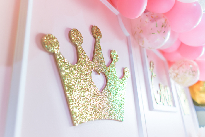 Glitter crown from a Magical Princess Birthday Party on Kara's Party Ideas | KarasPartyIdeas.com (27)