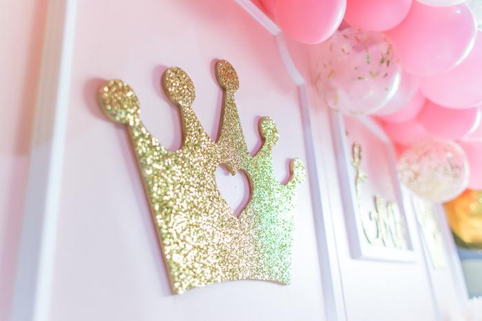 Glitter crown from a Magical Princess Birthday Party on Kara's Party Ideas | KarasPartyIdeas.com (27)