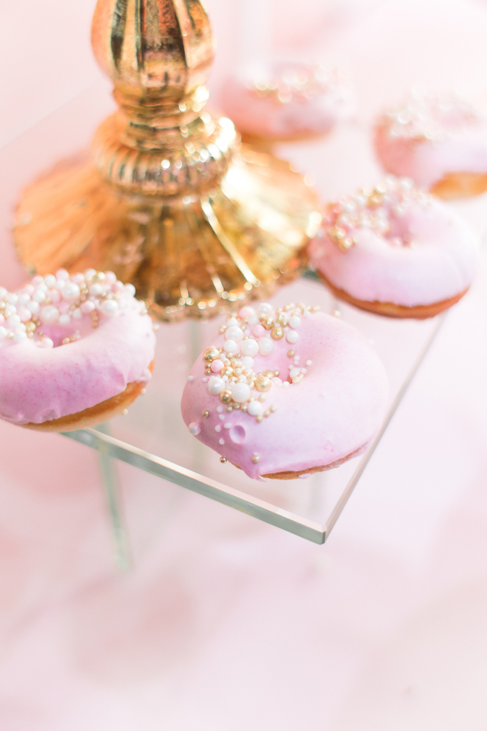 Mini doughnuts topped with sugar pearls from a Magical Princess Birthday Party on Kara's Party Ideas | KarasPartyIdeas.com (25)