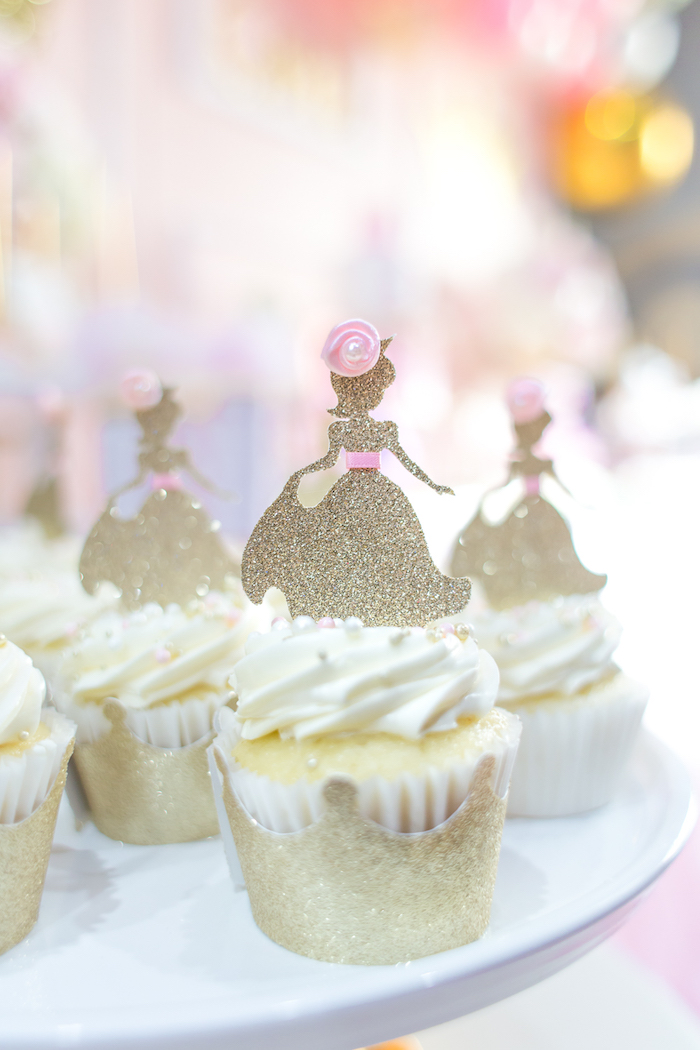 Princess cupcakes from a Magical Princess Birthday Party on Kara's Party Ideas | KarasPartyIdeas.com (23)