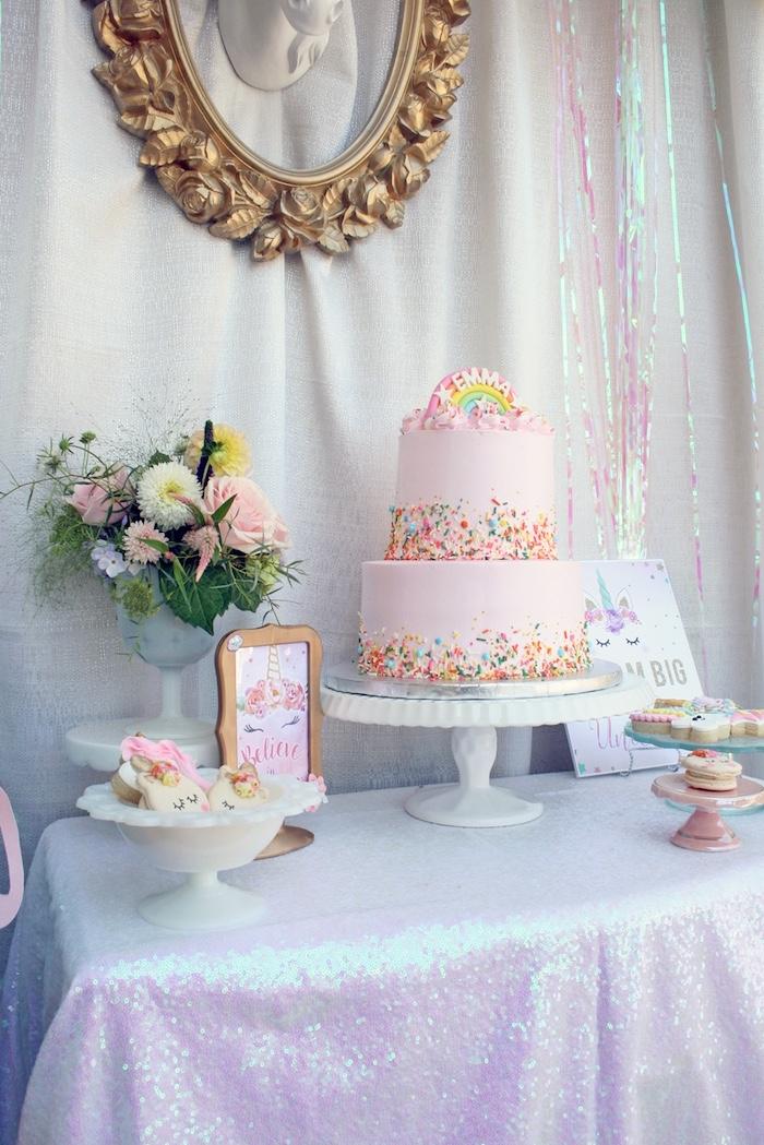 Cake table from a Magical Unicorn Birthday Party on Kara's Party Ideas   KarasPartyIdeas.com (9)