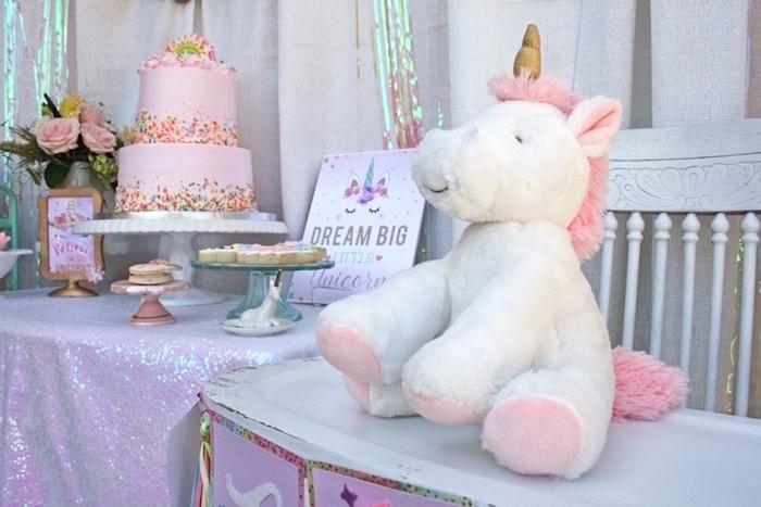 Unicorn plush from a Magical Unicorn Birthday Party on Kara's Party Ideas | KarasPartyIdeas.com (6)
