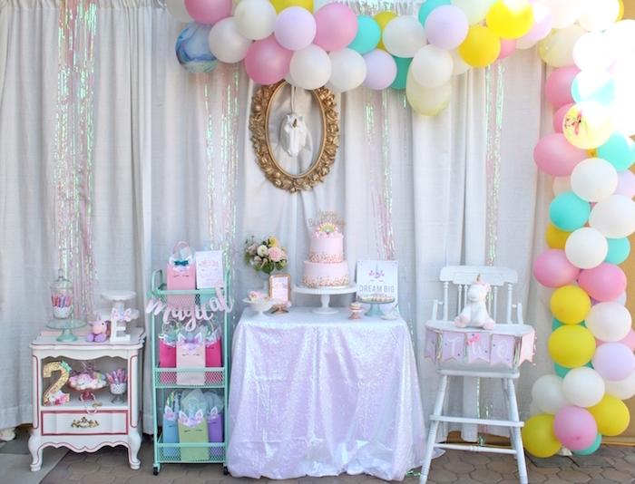 Unicorn party spread from a Magical Unicorn Birthday Party on Kara's Party Ideas | KarasPartyIdeas.com (18)