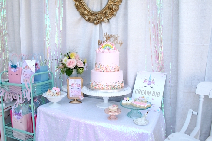 Sweet table from a Magical Unicorn Birthday Party on Kara's Party Ideas | KarasPartyIdeas.com (17)