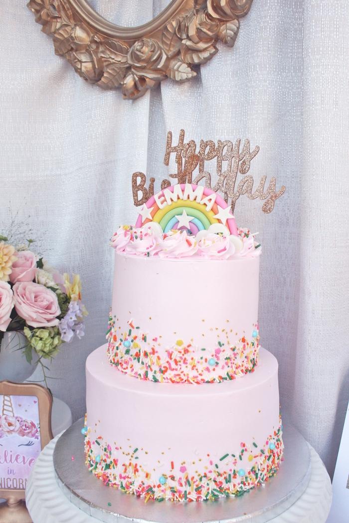 Rainbow cake from a Magical Unicorn Birthday Party on Kara's Party Ideas | KarasPartyIdeas.com (16)