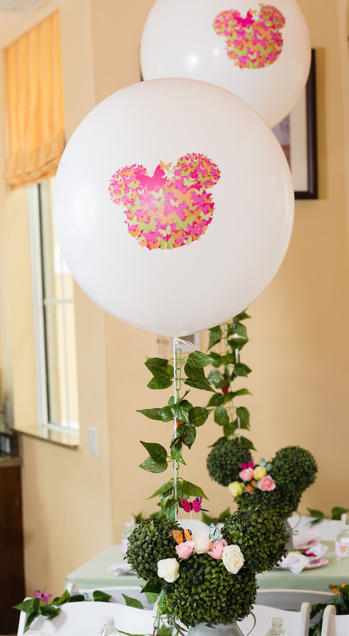 Custom butterfly Minnie Mouse balloon from a Minnie Mouse Inspired Butterfly Garden Party on Kara's Party Ideas | KarasPartyIdeas.com (19)