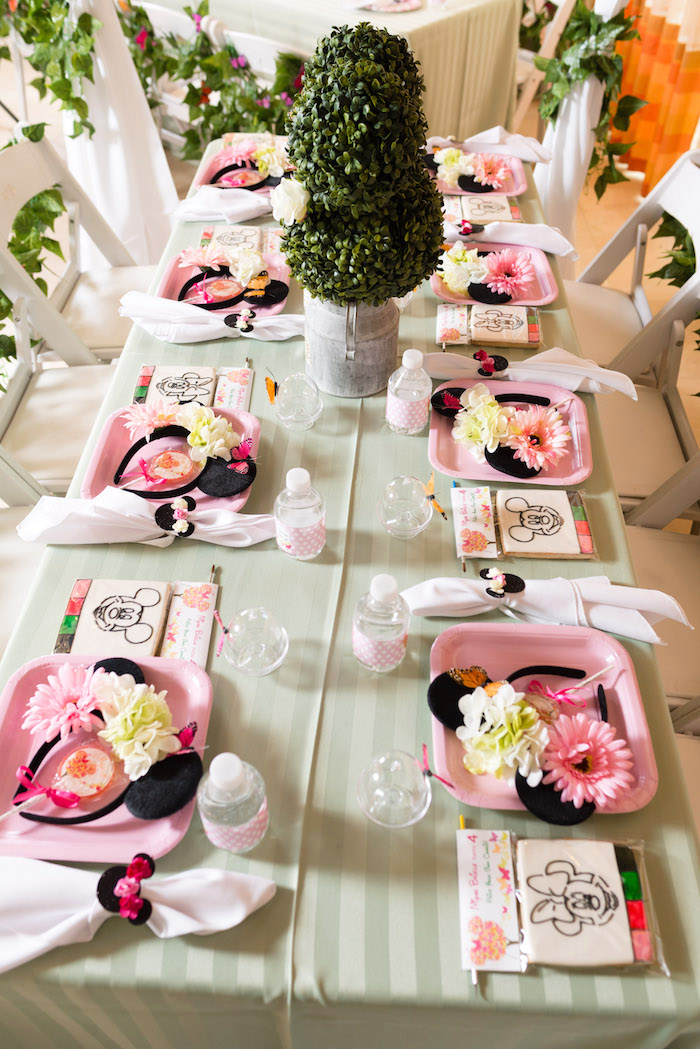 Guest table + place settings from a Minnie Mouse Inspired Butterfly Garden Party on Kara's Party Ideas | KarasPartyIdeas.com (18)