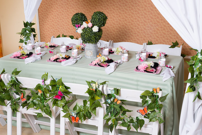 Minnie Mouse's Garden Guest Table from a Minnie Mouse Inspired Butterfly Garden Party on Kara's Party Ideas | KarasPartyIdeas.com (30)