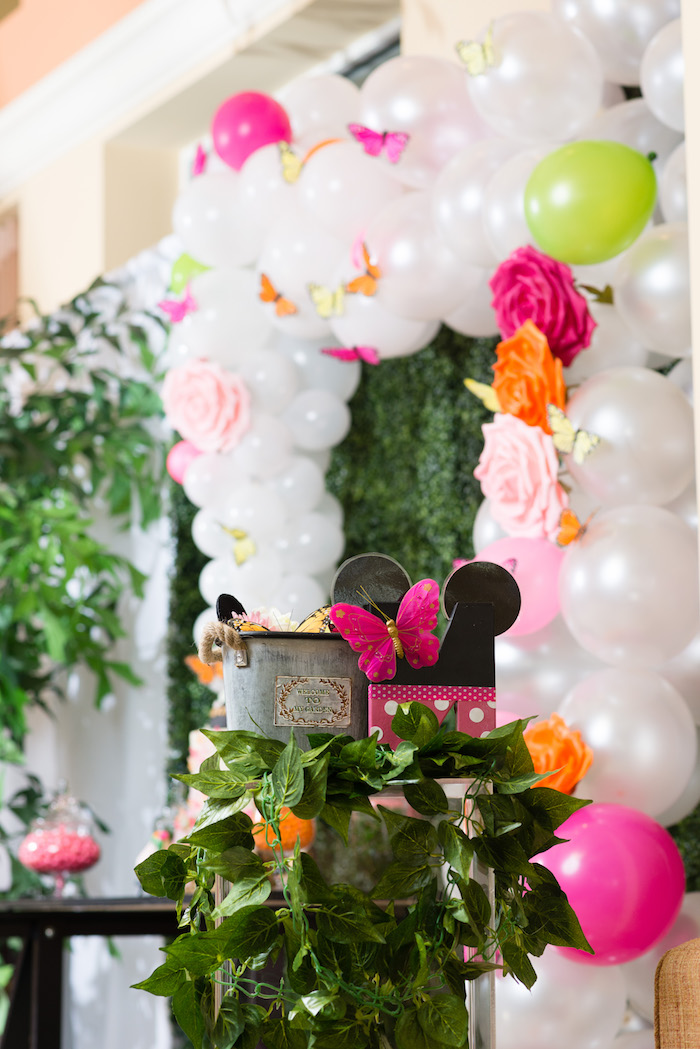 Balloon arch + decor from a Minnie Mouse Inspired Butterfly Garden Party on Kara's Party Ideas | KarasPartyIdeas.com (10)