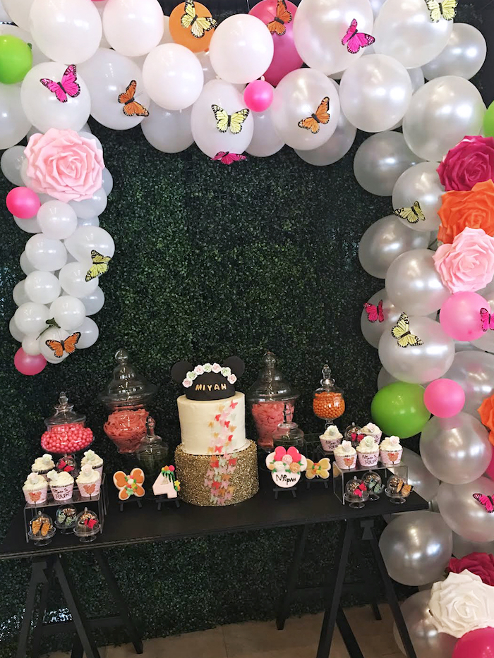 Dessert table from a Minnie Mouse Inspired Butterfly Garden Party on Kara's Party Ideas | KarasPartyIdeas.com (8)