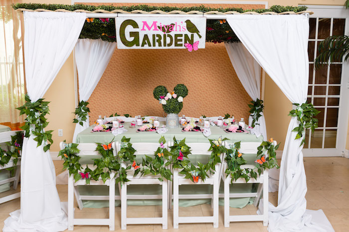 Canopied garden guest table from a Minnie Mouse Inspired Butterfly Garden Party on Kara's Party Ideas | KarasPartyIdeas.com (29)