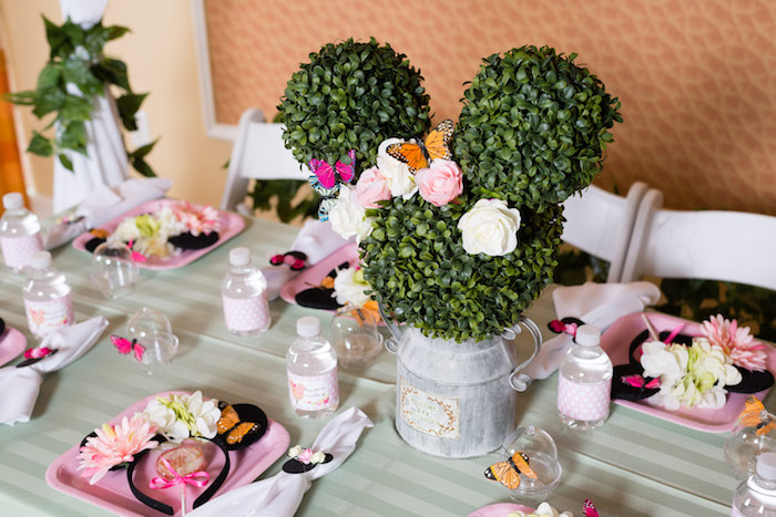 Minnie Mouse topiary + tablescape from a Minnie Mouse Inspired Butterfly Garden Party on Kara's Party Ideas | KarasPartyIdeas.com (27)