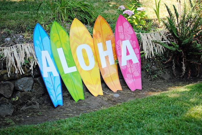Surfboard signage from a Moana Hawaiian Luau Birthday Party on Kara's Party Ideas | KarasPartyIdeas.com (12)