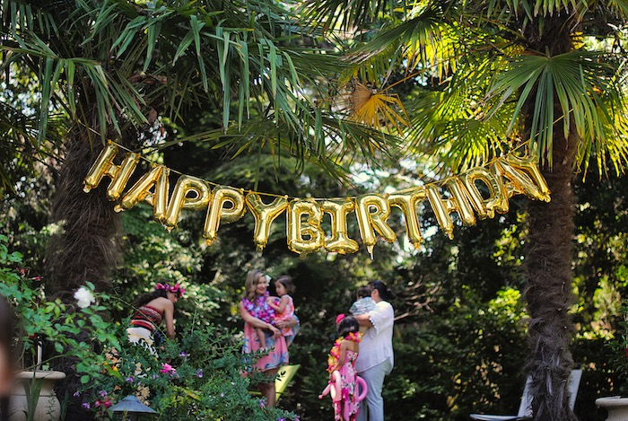 Happy Birthday Balloon Banner from a Moana Hawaiian Luau Birthday Party on Kara's Party Ideas | KarasPartyIdeas.com (10)