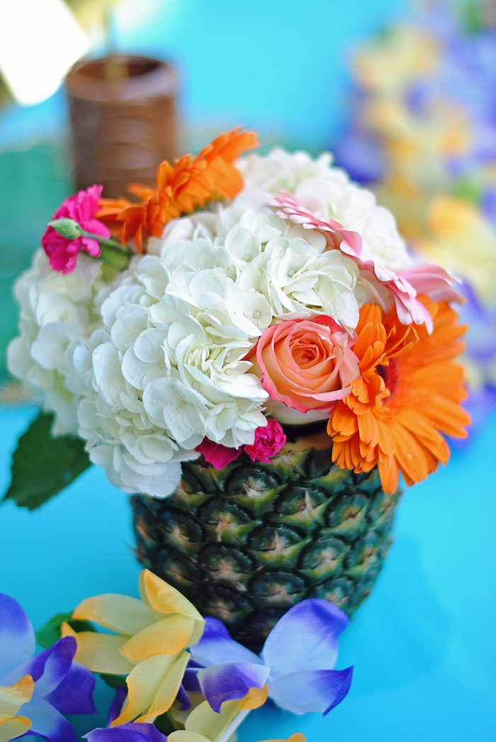 Pineapple floral arrangement from a Moana Hawaiian Luau Birthday Party on Kara's Party Ideas | KarasPartyIdeas.com (22)