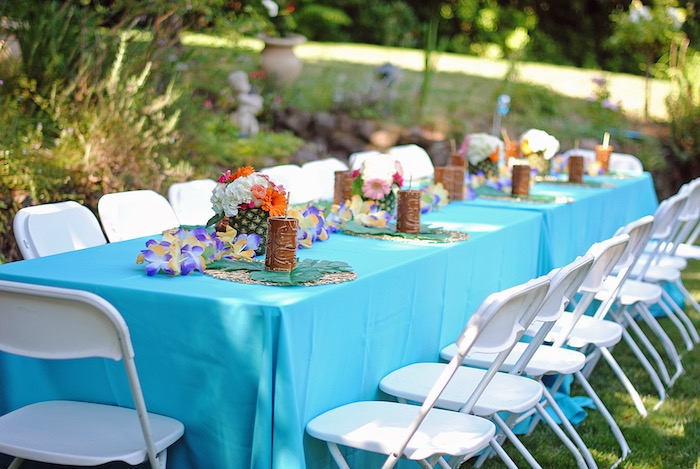Guest table from a Moana Hawaiian Luau Birthday Party on Kara's Party Ideas | KarasPartyIdeas.com (20)