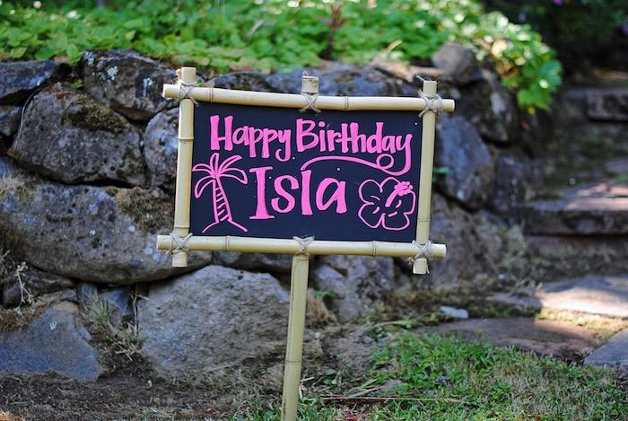 Bamboo chalkboard signage from a Moana Hawaiian Luau Birthday Party on Kara's Party Ideas | KarasPartyIdeas.com (19)