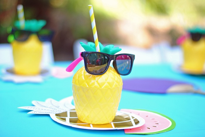Pineapple cup from a Moana Hawaiian Luau Birthday Party on Kara's Party Ideas | KarasPartyIdeas.com (18)