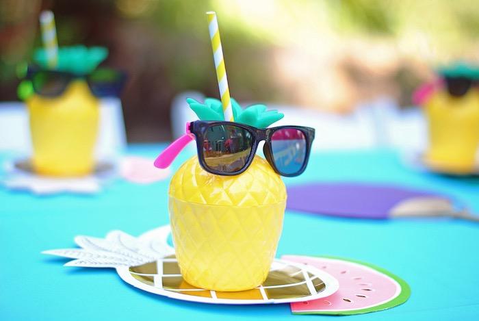 Pineapple cup from a Moana Hawaiian Luau Birthday Party on Kara's Party Ideas | KarasPartyIdeas.com (18)