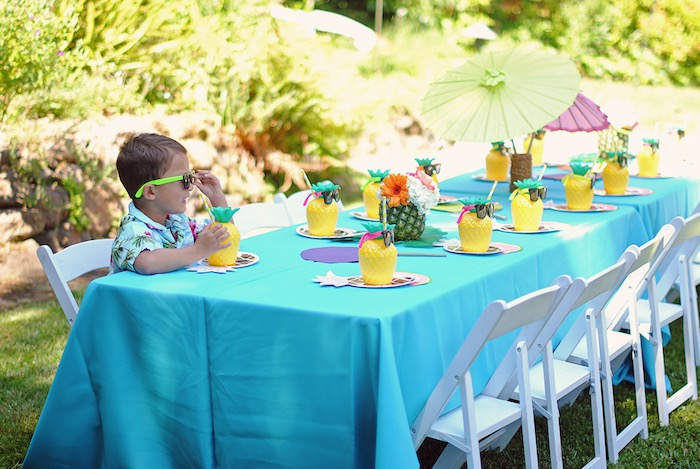 Guest table from a Moana Hawaiian Luau Birthday Party on Kara's Party Ideas | KarasPartyIdeas.com (17)