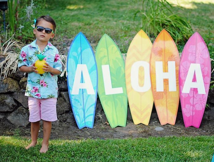 Aloha Surfboards from a Moana Hawaiian Luau Birthday Party on Kara's Party Ideas | KarasPartyIdeas.com (16)