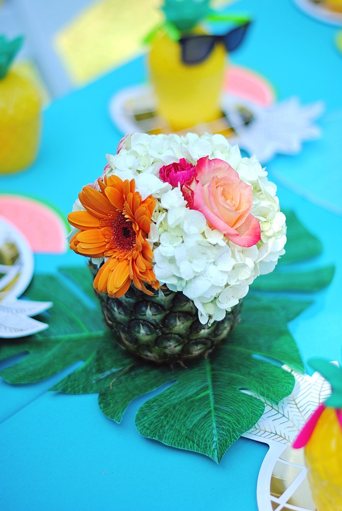 Pineapple bloom centerpiece from a Moana Hawaiian Luau Birthday Party on Kara's Party Ideas | KarasPartyIdeas.com (15)