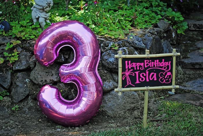 Bamboo chalkboard signage from a Moana Hawaiian Luau Birthday Party on Kara's Party Ideas | KarasPartyIdeas.com (14)