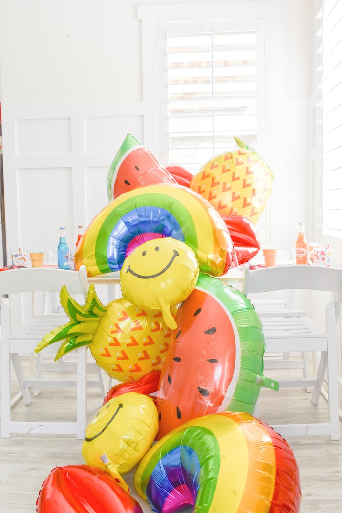 Mod Teen Dreaming Birthday Party by Kara's Party Ideas | Kara Allen KarasPartyIdeas.com Rainbow, Watermelon, Emoji, Pineapple, Lips, Doughnut