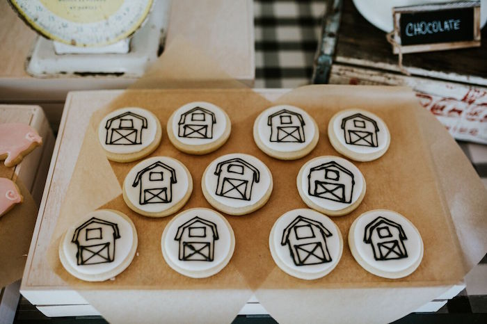 Monochromatic barn sugar cookies from a Modern Vintage Farm-to-Table Birthday Party on Kara's Party Ideas | KarasPartyIdeas.com (31)